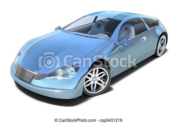Hybrid sport car. Front view - csp5431219