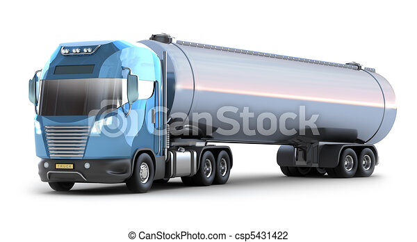 Oil Tanker truck. Isolated 3D image - csp5431422