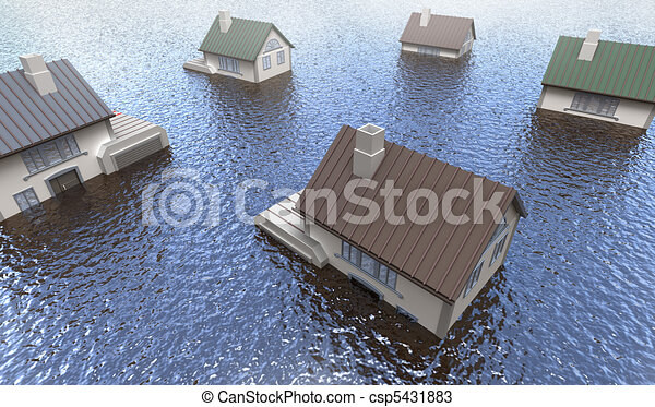 Flooded homes - csp5431883