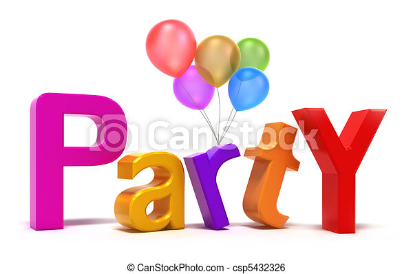 Word Party with colourful letters.  - csp5432326
