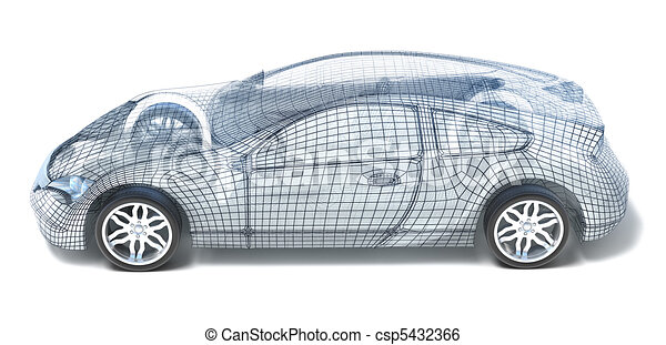 Sport Car Wireframe. Left view - csp5432366