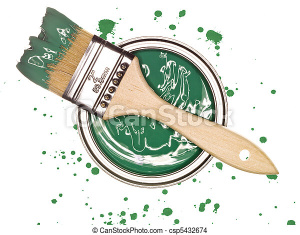 Green Paint can with brush - csp5432674