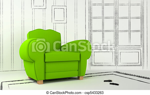 Interior project - green seat - csp5433263
