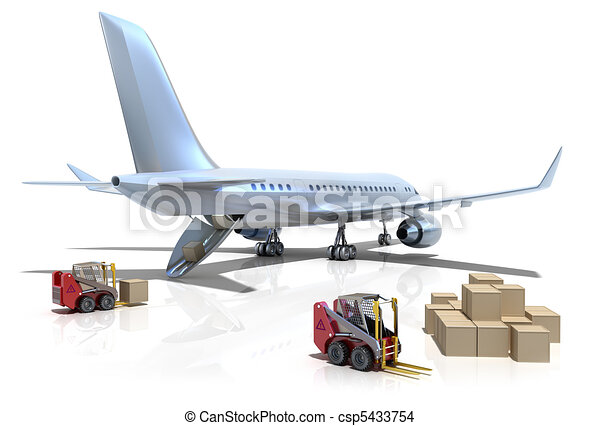 Airport : forklifts and plane - csp5433754