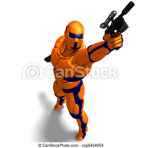 science fiction male character in futuristic suit. 3D rendering and shadow over white - csp5434054