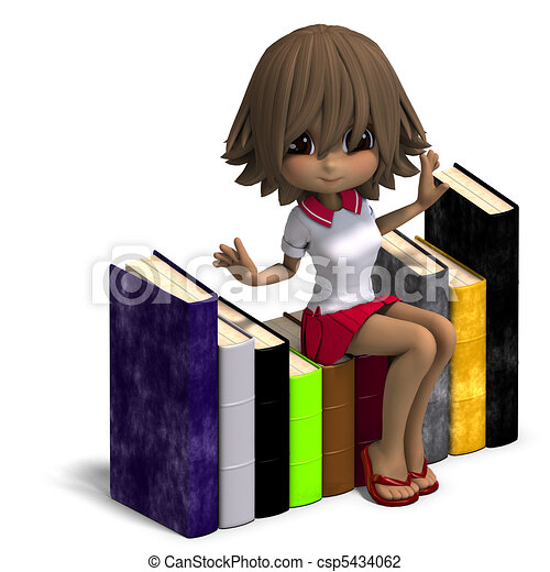 cute little cartoon school girl with many books. 3D rendering and shadow over white - csp5434062