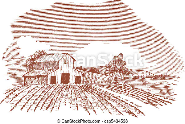 Farm Landscape with Barn - csp5434538