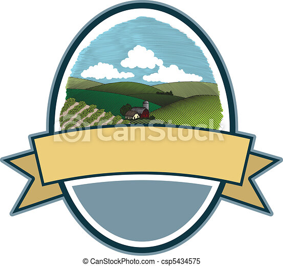 Rural Farm Scene Label - csp5434575