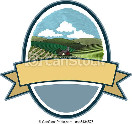 Rural Farm Scene Label - csp5434575