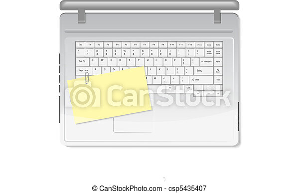 Yellow memo and paper clip on white - csp5435407