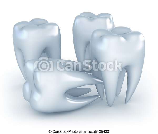 Teeth on white background. 3D image - csp5435433