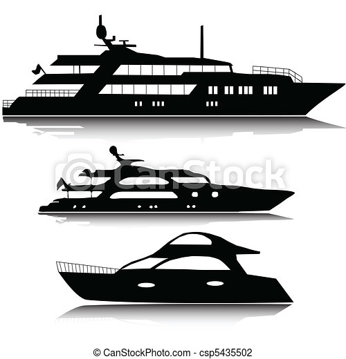 Large yachts vector silhouettes - csp5435502