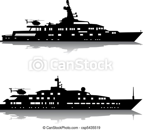 Large yachts with helicopters - csp5435519