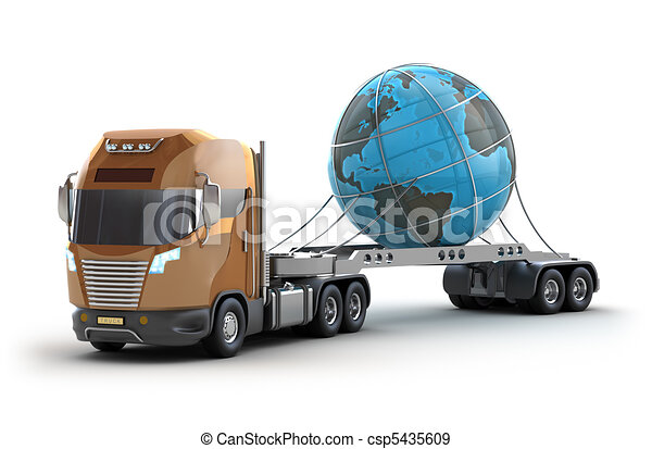 Modern truck carrying the earth - csp5435609