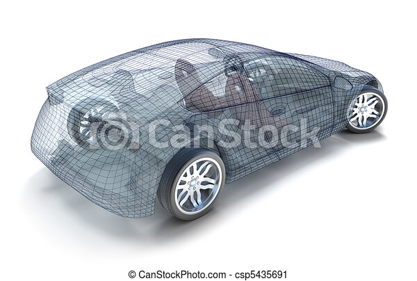 Car design, wireframe model - csp5435691