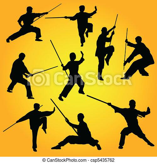 Martial arts group poses - csp5435762