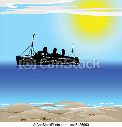 Passenger ship on the ocean - csp5435993