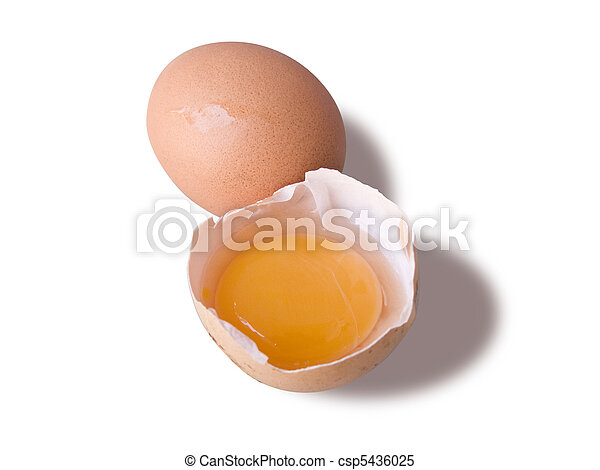 Egg and a broken half, isolated in white - csp5436025
