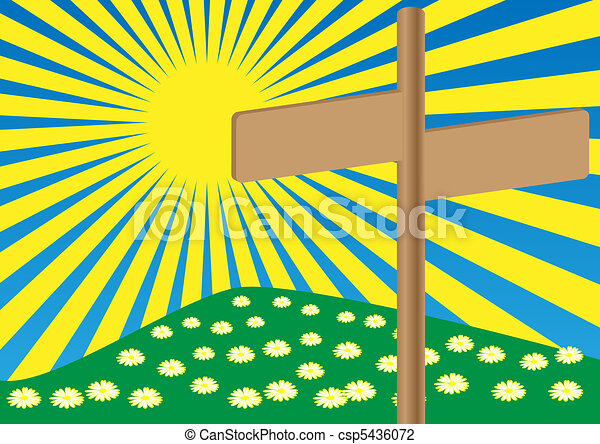Spring Background - Signpost on Meadow - csp5436072
