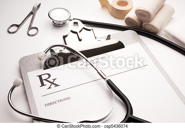 rx prescription concept stethoscope and bandages - csp5436074