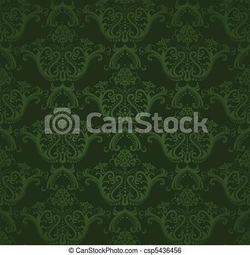 Dark green floral wallpaper - csp5436456
