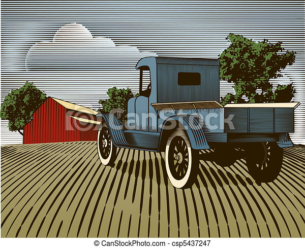 Vintage Truck Scene Color - csp5437247