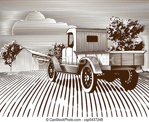 Vintage Truck Scene - csp5437248