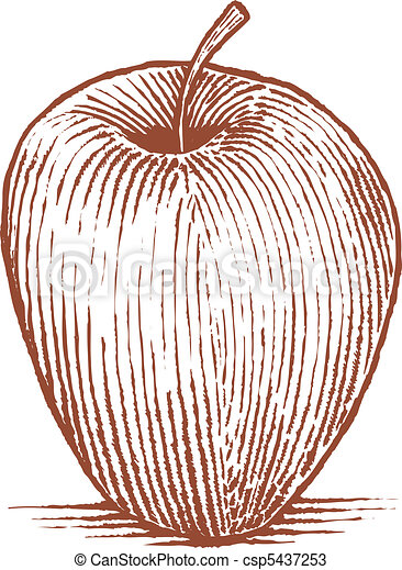 Woodcut Apple - csp5437253