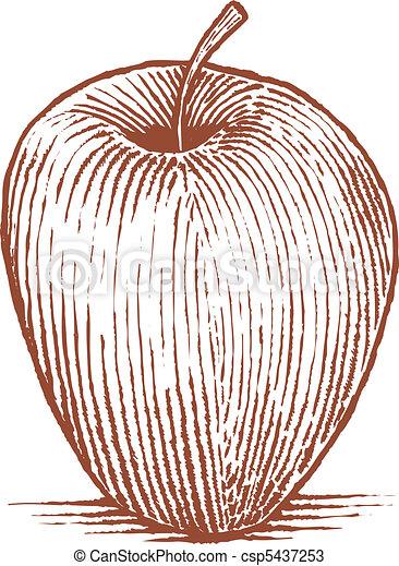Woodcut Apple - csp5437253