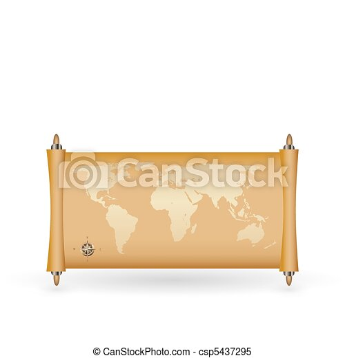 world map on papirus with gold fill - csp5437295