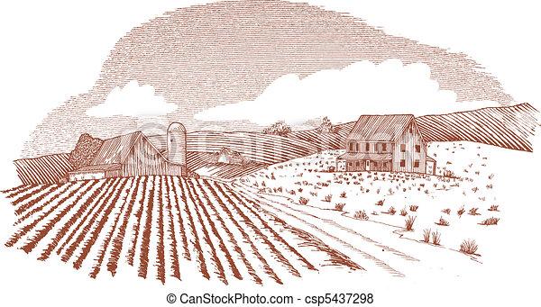 Woodcut Farm Landscape - csp5437298