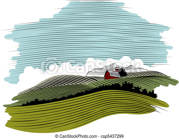WoodCut Farm Scene Landscape - csp5437299