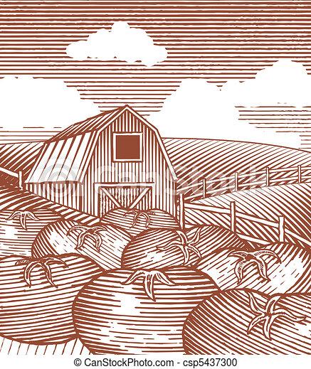 Woodcut Garden Scene - csp5437300
