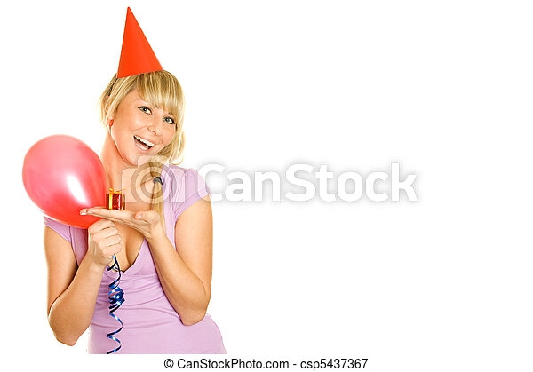 Woman with balloons and gift box  - csp5437367