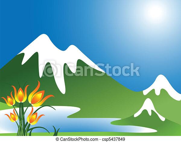 Vettori eps di montagna paesaggio lago fiori estratto for Lago disegno