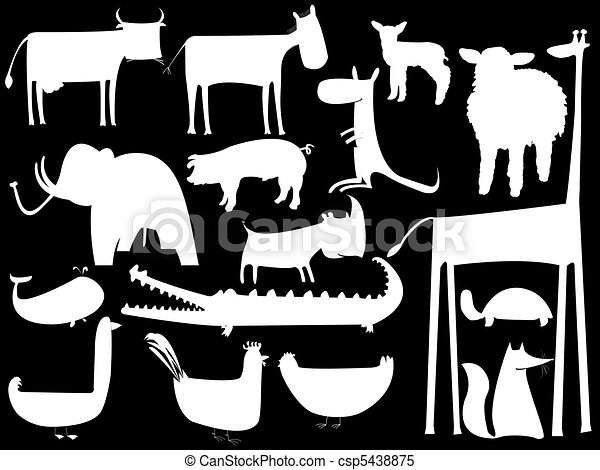 animal white silhouettes isolated on black background - csp5438875