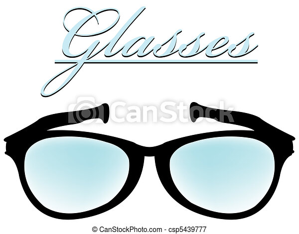 glasses silhouette isolated on white - csp5439777