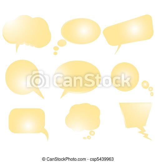 Collection of stylized yellow text bubbles, vector isolated objects on white, vector art illustration, more bubbles in my gallery - csp5439963