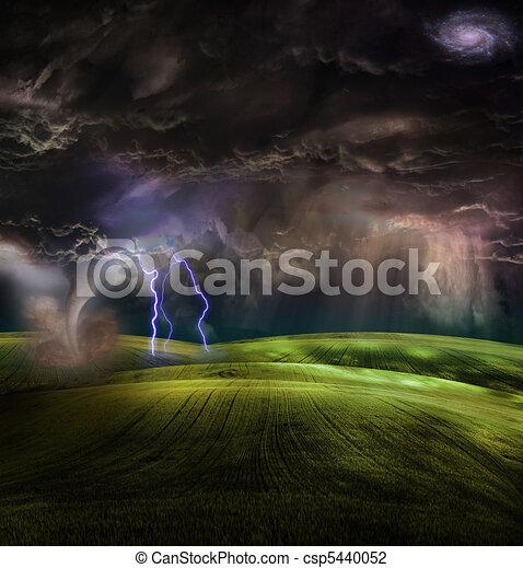 Tornado in stormy landscape - csp5440052