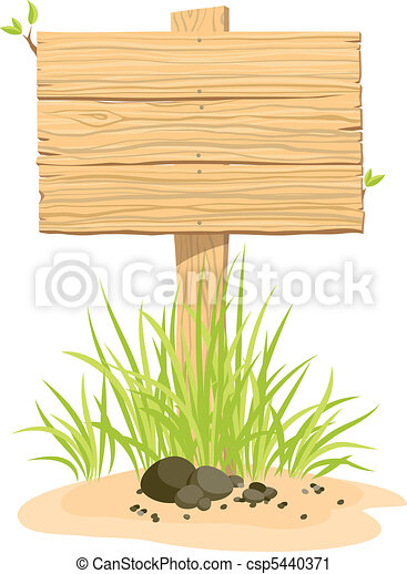 Wooden sign with green grass  - csp5440371