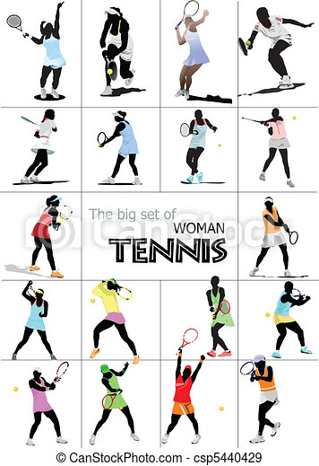 Big set of Woman Tennis player. Co - csp5440429