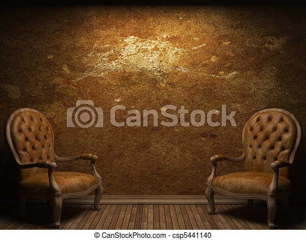 old concrete wall and chair - csp5441140