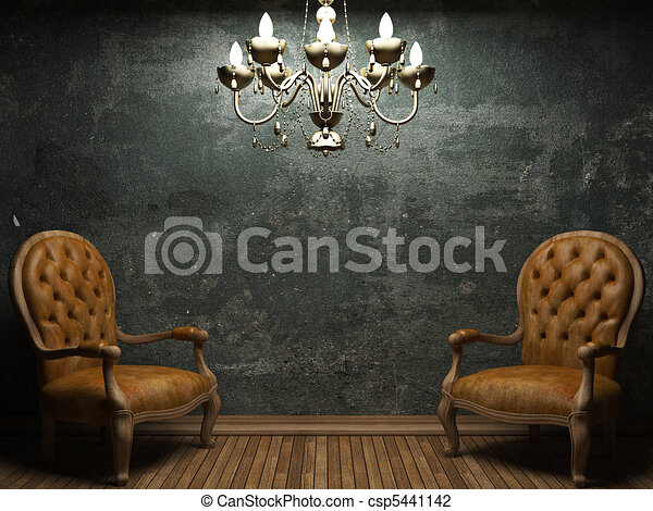 old concrete wall and chair - csp5441142