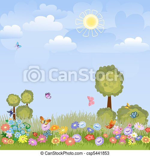 summer landscape with flowers - csp5441853