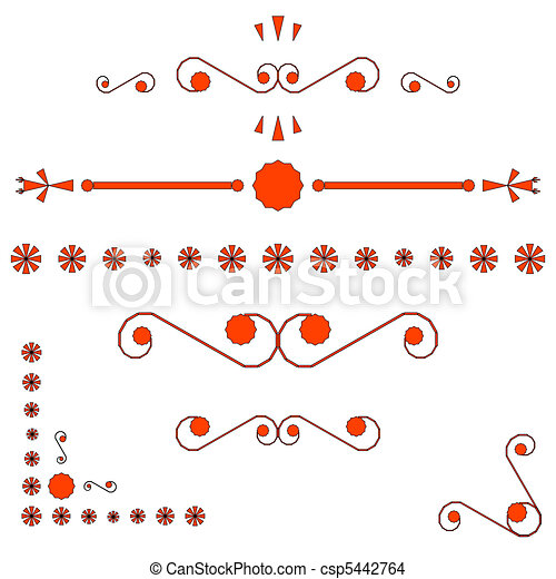 orange corners and page ends ornaments - csp5442764