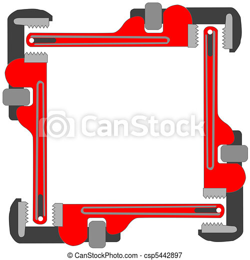 pipe wrench photo frame - csp5442897