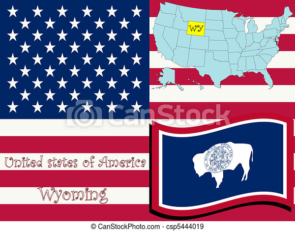 wyoming state illustration - csp5444019