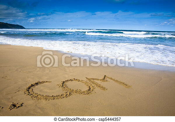 Internet company sign draw on beach - csp5444357