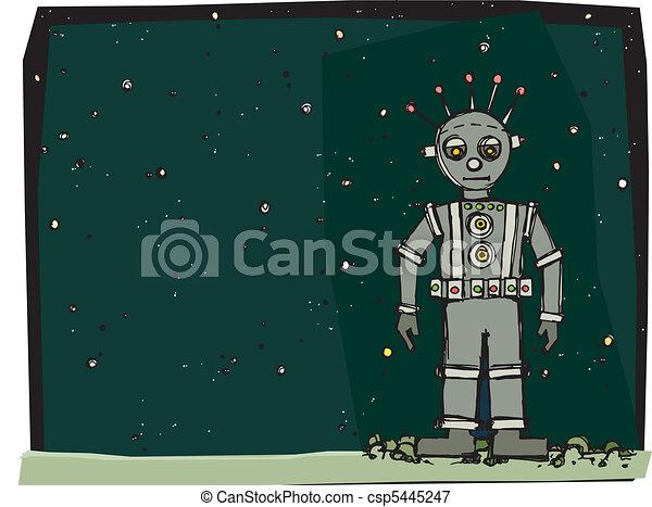 Ilustraciones vectoriales de robot espacio  A robot en