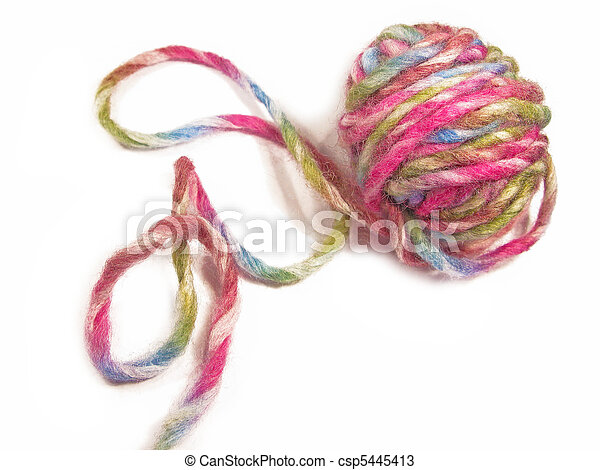 Colorful thick wool hank in a isolated close-up - csp5445413